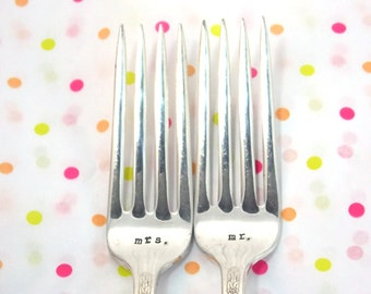 Mr. Mrs. Fork Set - Hand Stamped Vintage Silverware, wedding forks, wedding gift