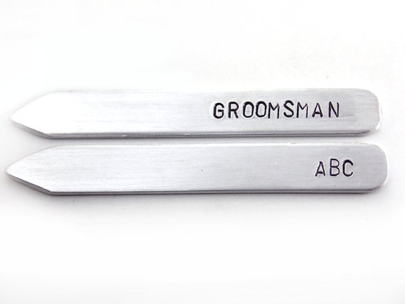 Groomsman Gift, gift under 25, wedding party gift, Aluminum Collar Stays, Metal Hand Stamped Custom Initials, gift for him, men's accessory