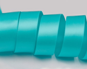 """Turquoise Ribbon, Double Faced Satin Ribbon, Widths Available: 1 1/2"""", 1"""", 6/8"""", 5/8"""", 3/8"""", 1/4"""", 1/8"""""""