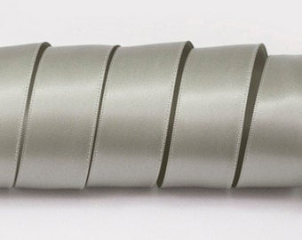 "Grey Ribbon, Double Faced Satin Ribbon, Widths Available: 1 1/2"", 1"", 6/8"", 5/8"", 3/8"", 1/4"", 1/8"""
