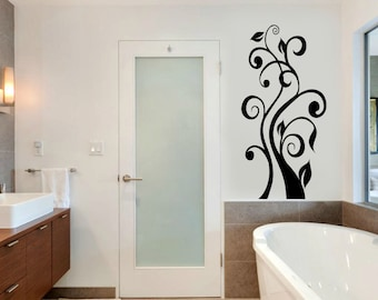 Flower Butterfly Wall Decal Cute Vinyl Sticker Home Arts Floral Wall Decals Swirl  WT059