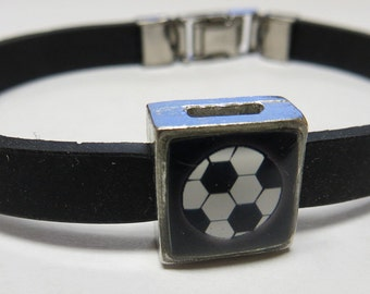 Sport Soccer Ball Link With Choice Of Colored Band Charm Bracelet