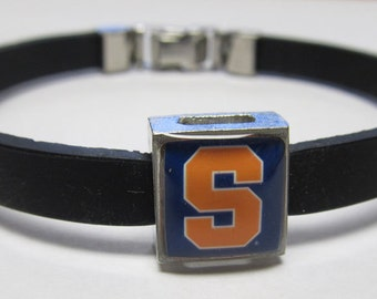Syracuse University College Link With Choice Of Colored Band Charm Bracelet