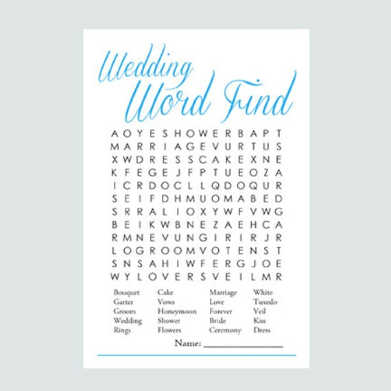 Items Similar To Wedding Word Find