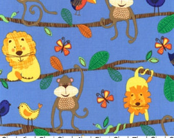 Michael Miller- Hanging Around Blue Fabric- 1 yard- Monkey, Lion Bear and Birds