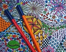 Zendoodle Coloring Page - Zentangle Inspired - Adult Coloring Sheet, Activity, Instant Digital Download - Printable Coloring Page 1