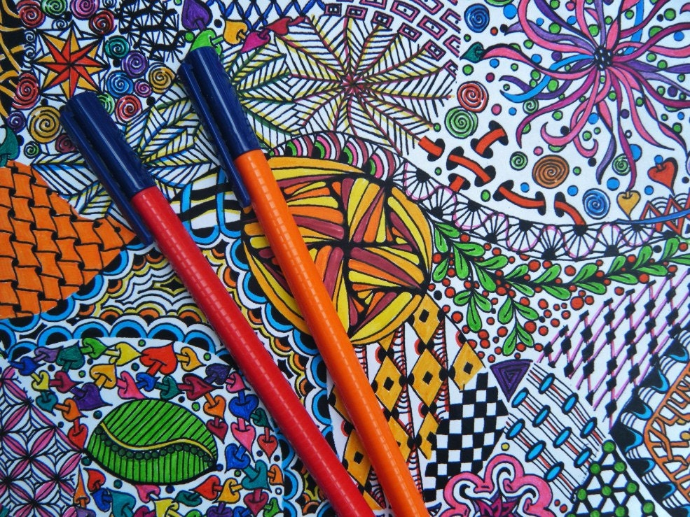 Zendoodle Coloring Page Zentangle Inspired Adult Coloring