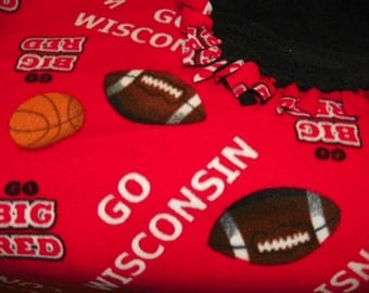Big Red Wisconsin Fleece Blanket with a Black Backing Perfect for a Teen Adult or a Baby    Size 60inx54in   Hand Made  One of a Kind