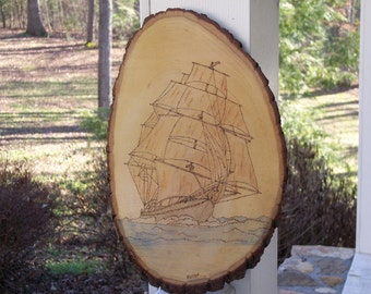 Sailing Ship Woodburning Pyrography