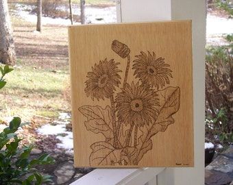 Daisy Woodburning Pyrography