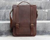 Handmade Leather Satchel - Chocolate Brown Hip Bag / Leather Purse / Shoulder Bag - Distressed Leather Bag / Messenger Bag