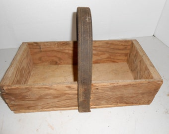 wooden box with leather handle