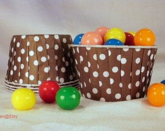 30 Brown Polka Dot Cupcake Muffin Candy Nut Cups -  Birthday Parties Showers Weddings 30 ct