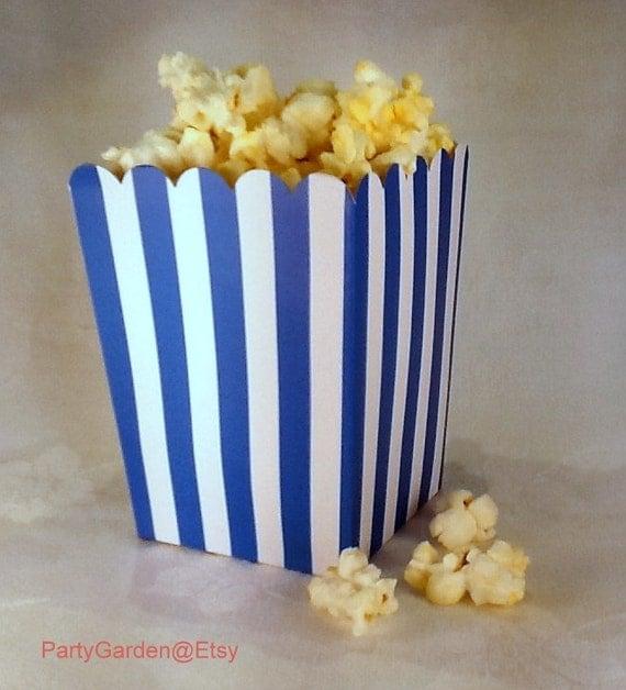 Blue Popcorn Favor Boxes : Mini blue and white striped popcorn boxes treats favors