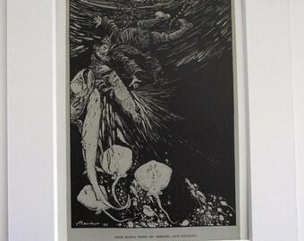 ORIGINAL Arthur Rackham print (Illustration). 'Mr. Peters' story, The Bagman's Dog, The Ingoldsby Legends c1920.