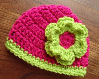 Crocheted Baby Girl Hat with Flower, Baby Shower Gift, Newborn Photo Prop - Raspberry & Lime - Newborn to 5T - MADE TO ORDER
