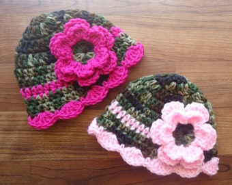 Crocheted Baby Girl Camo & Pink Hat Set, Twin Hat Set with Flowers - Camo with Dark and Light Pink - Newborn to 24 Months - MADE TO ORDER