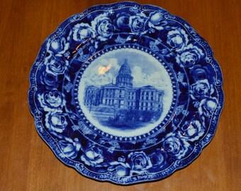 Late 1800s Flow Blue Dish of Denver Capital Building