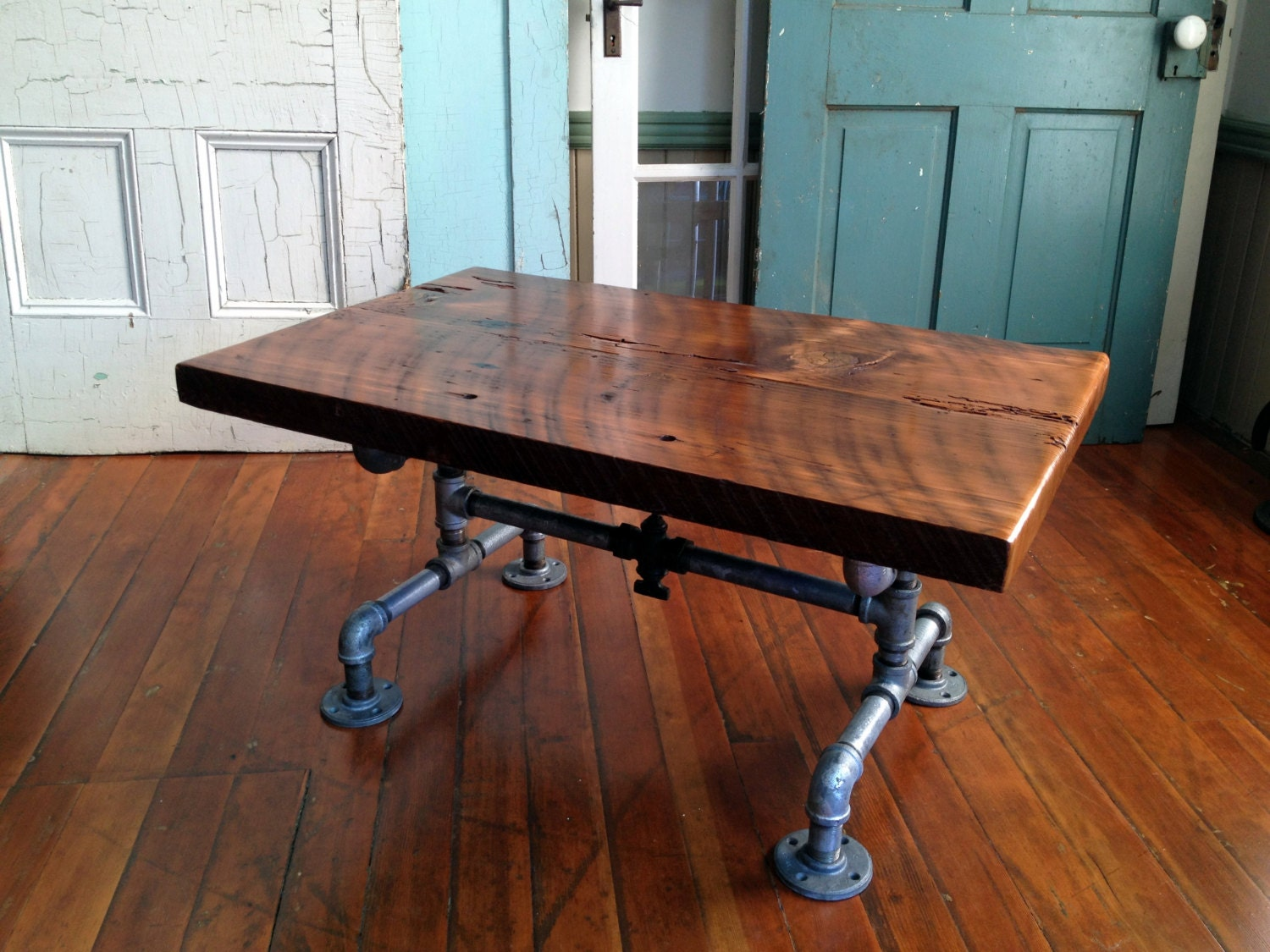 Reclaimed Barn Wood Table Coffee Table Galvanized Pipe And