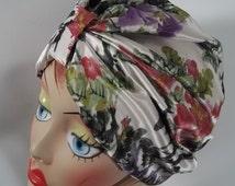 Silk, fashion turban, hat, white, floral print, summer, fashion, vintage style, designer, size Sm, Med, L, XL. Free shipping in USA.