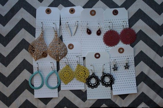 PICK ANY 5 Shapes and Colors - Lightweight Filigree Earrings - Ultra Chic - Great for Bridesmaids or Family Pictures (Buy 4 Get one FREE)