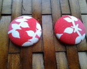 Fabric Button Earrings-Cherry Blossom