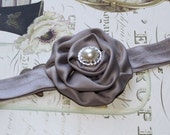 15% off entire order Grey Baby Headband, 3'' Matte Satin Rolled Rosettes flower todler newborn Easter