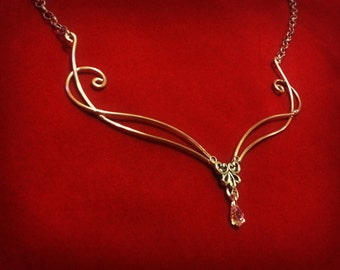 Elven Fantasy statement necklace Swarovski crystal in silver