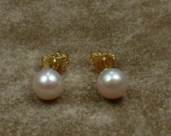 Pink - Lavender Akoya Pearl Stud Earrings 6 - 6.5 mm
