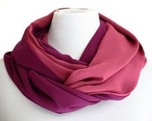 Pink and Damson plum infinity scarf and shawl,trend scarf