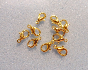 10 gold plated lobster clasps - 10mm - gold tone - lobster claw fastener - 10mm lobster clasp