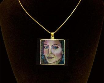 Custom Hand made portrait pendant, custom portrait, custom portrait from photo, portrait pendant, wearable art jewelry, wearable art