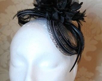 Elegant black fascinator