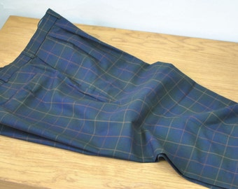 Vintage BURBERRYS  1980s Navy Blue and Green TARTAN PLAID Men's Pants...........(041)