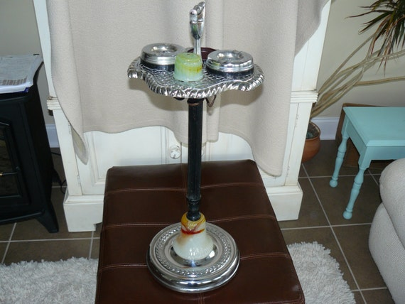 Antique Tobacco Ashtray Stand With Slag Glass Mica Gravity