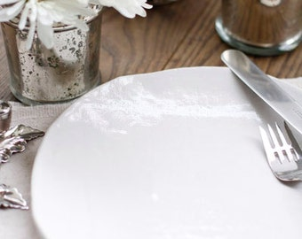 Handmade White Ceramic Plate with Linen Texture