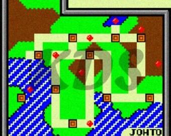 Johto Map 2nd Generation Cross Stitch Pattern