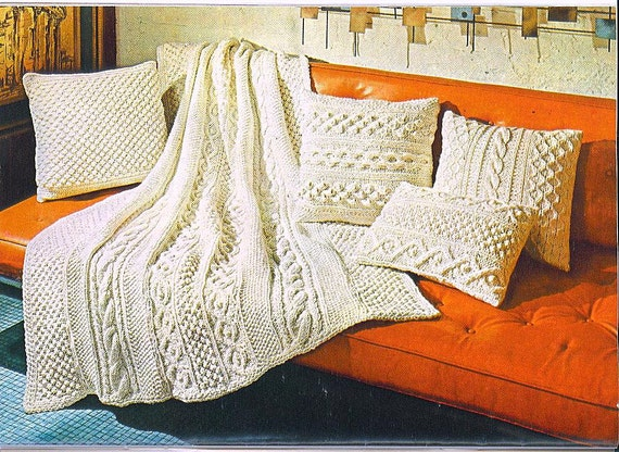 Knitting Pattern Aran Afghan Pillows 017