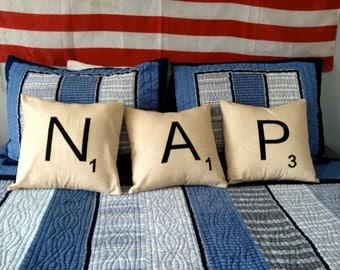 Scrabble pillow cover