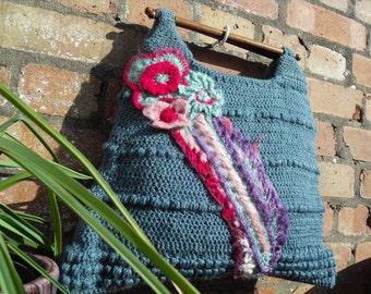 unique, funky handmade freeform crochet handbag