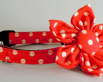 Cat Collar and Flower or Bow Tie - Red Polka Dots