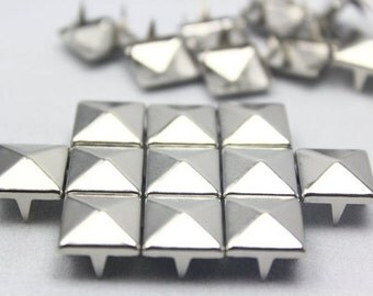 12mm Silver Pyramid Studs 50 Pieces 12MM, 50 pcs Silver Studs Pyramid, 4 Prongs, 4 Legs, Colors, DIY Leather, Clothes, iPhone Case