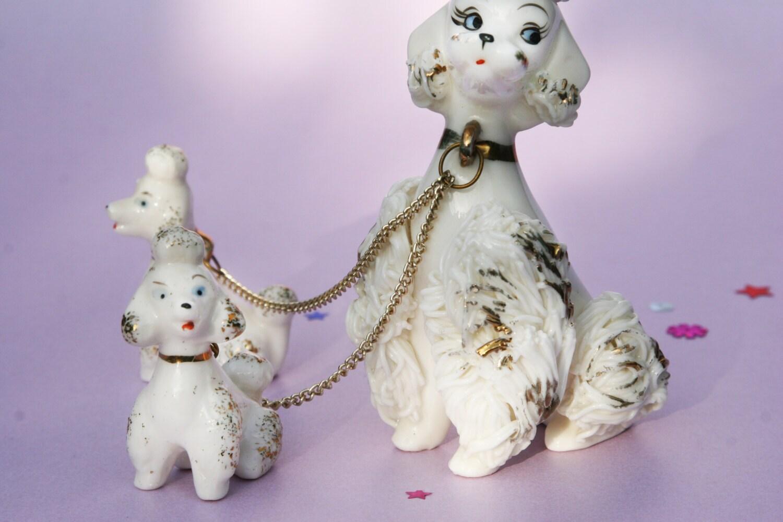 Ceramic Baby Poodle Dog Spaghetti Porcelain By Ohhazelvintage