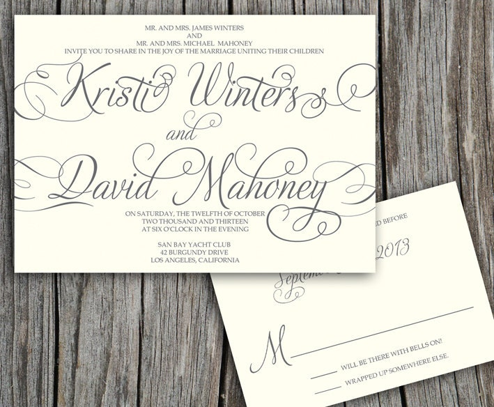 Diy Calligraphy For Wedding Invitations: Script Calligraphy Kristi Printable Wedding Invitation