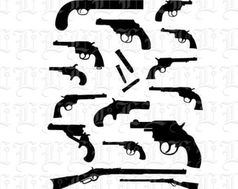 15 Silhouettes of Antique Guns & Ammunition Digital Instant Download  Retro Clip Art 0219