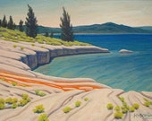 Lake 'Yellowstone Flow' - original Landscape Painting - contemporary - plein air - shabby chic - water - turquoise - impressionist