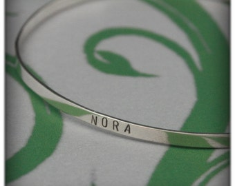 Modern Family Name Bangle Bracelet--Hand Stamped Solid Sterling Silver--Family Jewelry--Gift--Personalized