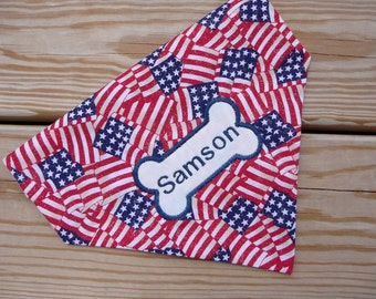 4th of July Personalized Dog Bandana Dog Collar Accessory