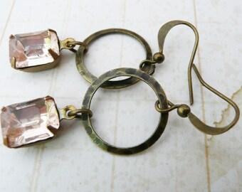 50% OFF Earrings, Antique Pink Rosaline Crystal dangle earrings: No E190