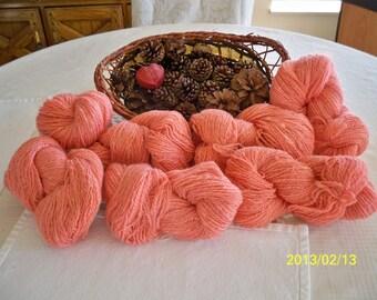 Handspun Yarn - 1 lb, 7.2  ounces, 2 Ply, 1,196 yards, worsted weight - Melon - (1) set